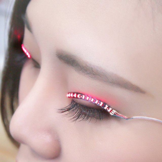1 Pair Led Luminous Waterproof Eyelashes Strips Light Fake Eyelashes