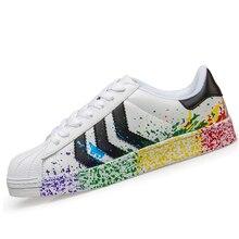 New Classic White Super Men unisex Casual Shoes Footwear Star Men Breathable Walking Shoes Superstar Plus Size Flat Shoes 36-44