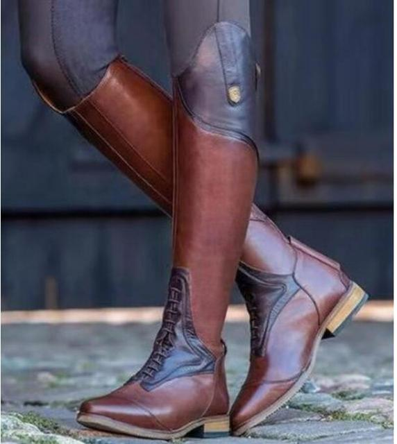 3e7ca4f0885 US $20.44 |women boots knee high chaussure chunky low heels gladiator shoes  woman booties vintage PU leather girls zapatos mujer -in Knee-High Boots ...