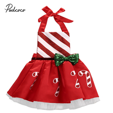 Christmas Baby Girls Clothes Dresses Christmas Outfits Sunsuit Costume Dress Girl Infant Bow Candy Cane Print Dress