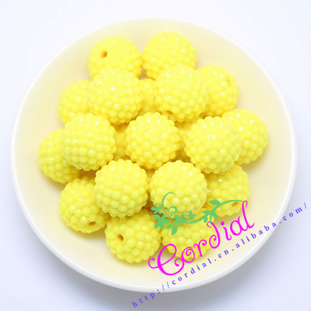 Free Shipping Yellow Solid Rhinestone Color 20MM 100Pcs Chunky Yellow Rhinestone Ball Beads For Chunky Kid Necklace Jewelry