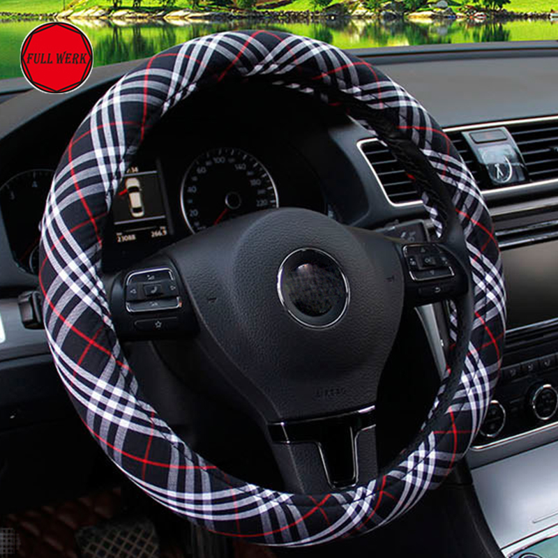 Universal Plaid Car Steering Cover Fashion Luxury Fiber Car Steering Wheel Decor Protective Wrap for Girl Women Car Accessories