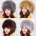 2016 Europa América las mujeres de invierno sombrero de moda de piel de zorro sombrero Tapas sombrero caliente Para Niñas Dama