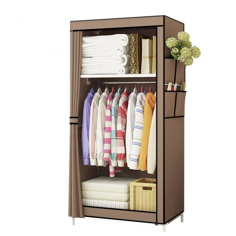 Шкаф для одежды в минималистичном стиле, односпальный небольшой платяной шкаф для студенческого общежития, складной шкаф для хранения одеж...