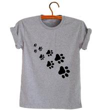 cat paws print Women tshirt Cotton Casual Funny t shirt For Lady Top Tee Hipster gray black white Drop Ship Z-326