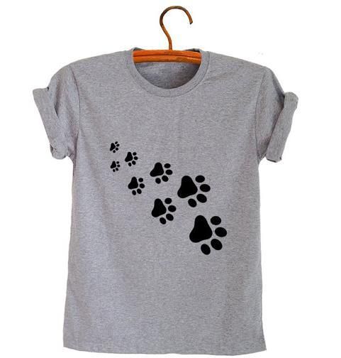 cat paws print Women tshirt Cotton Casual Funny t shirt For Lady Top Tee Hipster gray