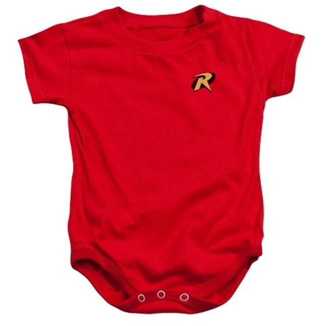 Trevco Batman-Robin Logo – Infant Snapsuit – Red Medium 12 Months
