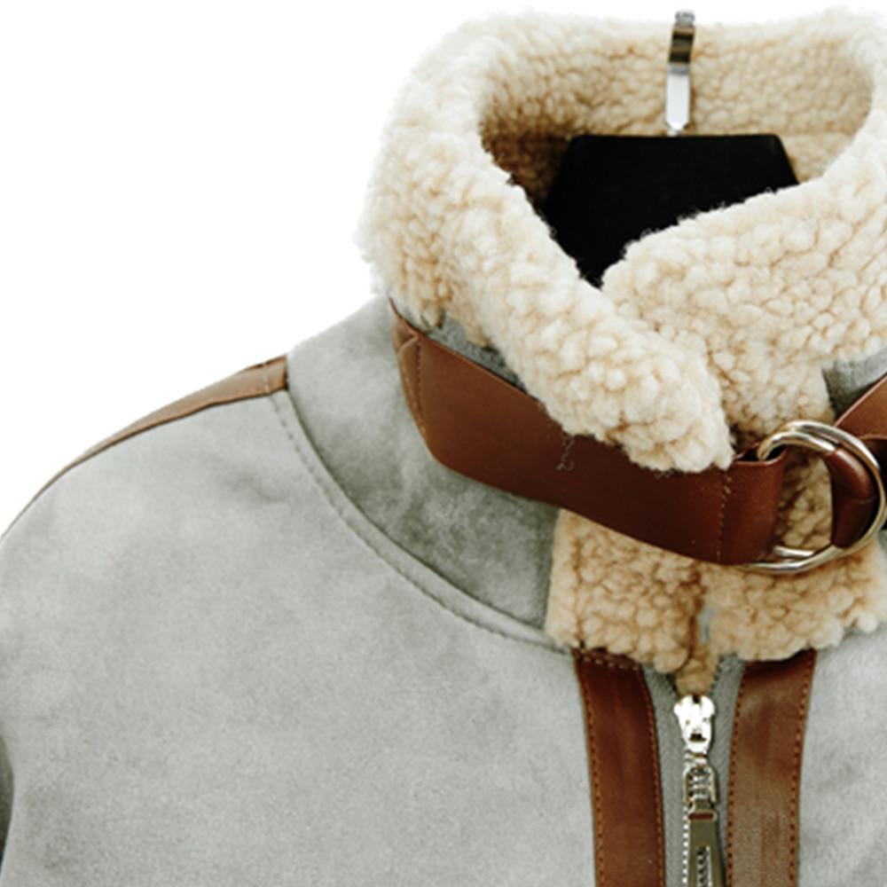 rose gris kaki Daim Vintage Mode noir Laine ardoisé Manteau En Kohuijoo Casual Vestes Beige Patchwork Couleur Zipper Élégant Dames 2019 Coréen D'hiver Épais D'agneau 4BgaWaRwq