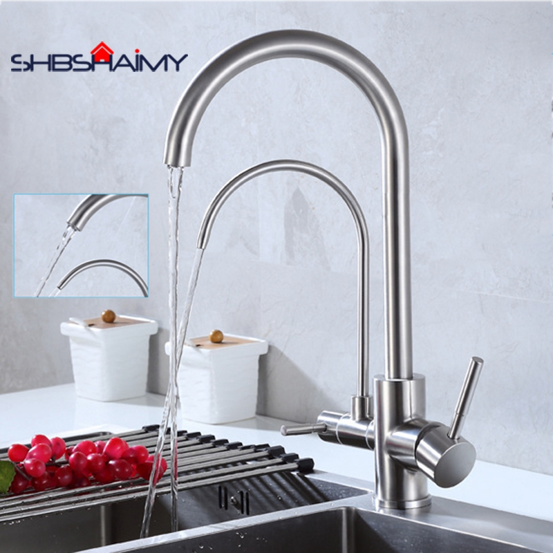 Nickel Brushed Kitchen Purification Faucet 360 Degree Rotation Dule Handle Cold and Hot Water Mixer Tap folding kitchen faucet hot and cold mixer tap sus04 stainless steel brushed nickel 13 009