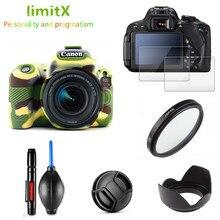 Full Protect Kit Screen Protector Camera case bag UV Filter Lens hood Cap pen Blower for Canon EOS 200D SL2 with 18 55mm lens