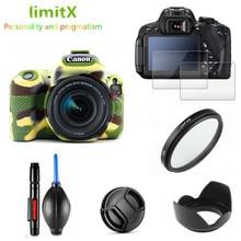 Volledige Beschermen Kit Screen Protector Camera Case Tas Uv Filter Lens Hood Cap Pen Blower Voor Canon Eos 200D SL2 met 18 55 Mm Lens