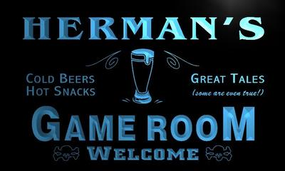 x0183-tm Hermans Cold Beer Game Room Custom Personalized Name Neon Sign Wholesale Dropshipping On/Off Switch 7 Colors DHL