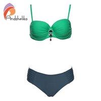 Andzhelika Sexy Bikinis Set 2017 Newest Bikinis Women Sexy Beach Solid Plus Size Swimwear Summer Bathing