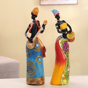 Resin Crafts African Woman Girls Doll Resin Vintage Figurine For Friends Gifts Living Room Home Decoration Accessories R1069