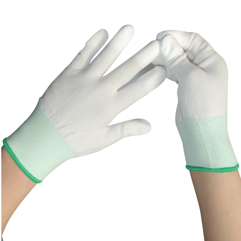 2pairs/lot Nylon PU Finger Coated Gloves White Coated Glove Anti-static Gloves Clean Knitted Gloves