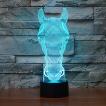 7 Color Change Touch Switch Art Sculpture Lights Desk Table Night Light Awesome Gift Horse 3D Optical LED Illusion Lamp недорого
