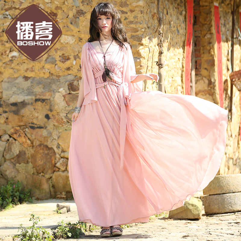 Free Shipping 2018 New Fashion Long Maxi White One-piece Beach Bohemian Women Ruffles Sleeve Boshow Summer And Spring Dresses