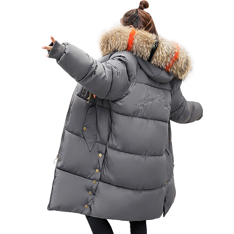 Plus Size Winter Jackets Women Coats Big Fur Collar Hooded Down Jacket Warm Long   Parka   Women Thicken Cotton Jackets 2018 New