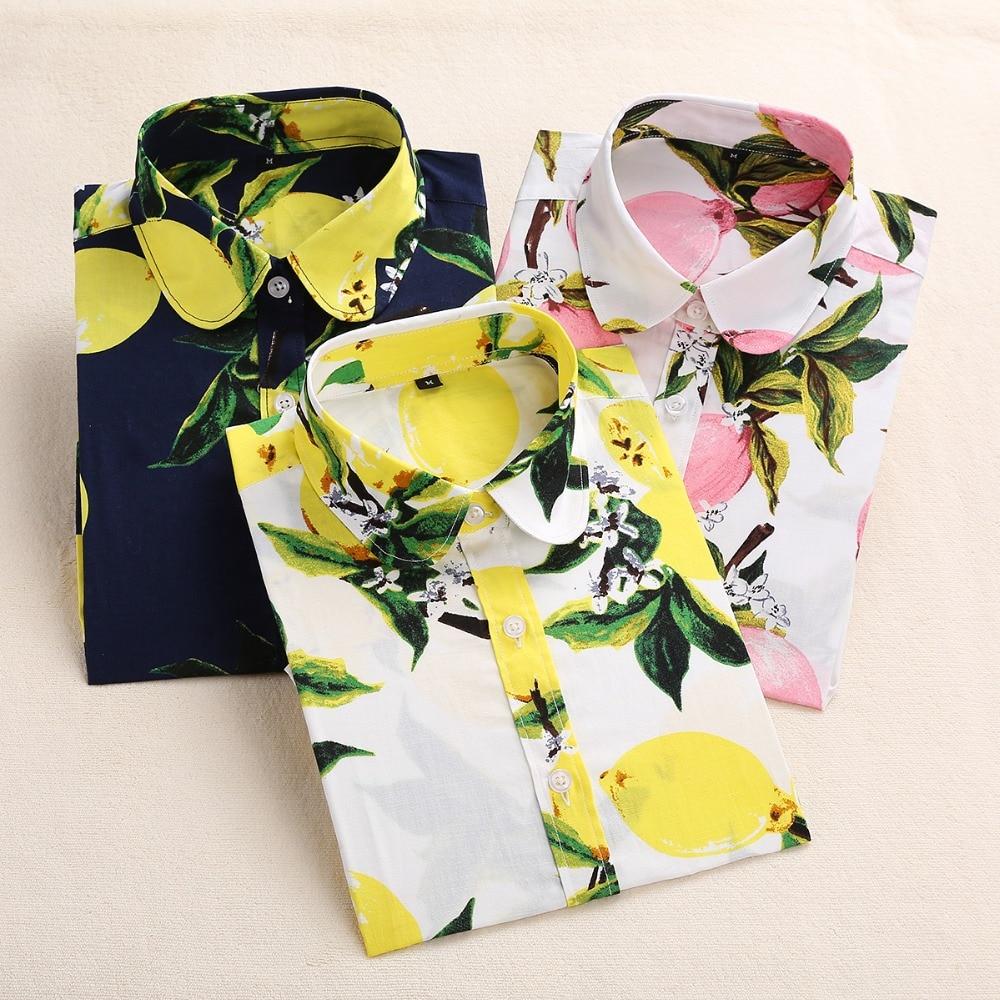 2018 Algodón de Verano Blusas de Las Mujeres Camisas de Impresión - Ropa de mujer - foto 4