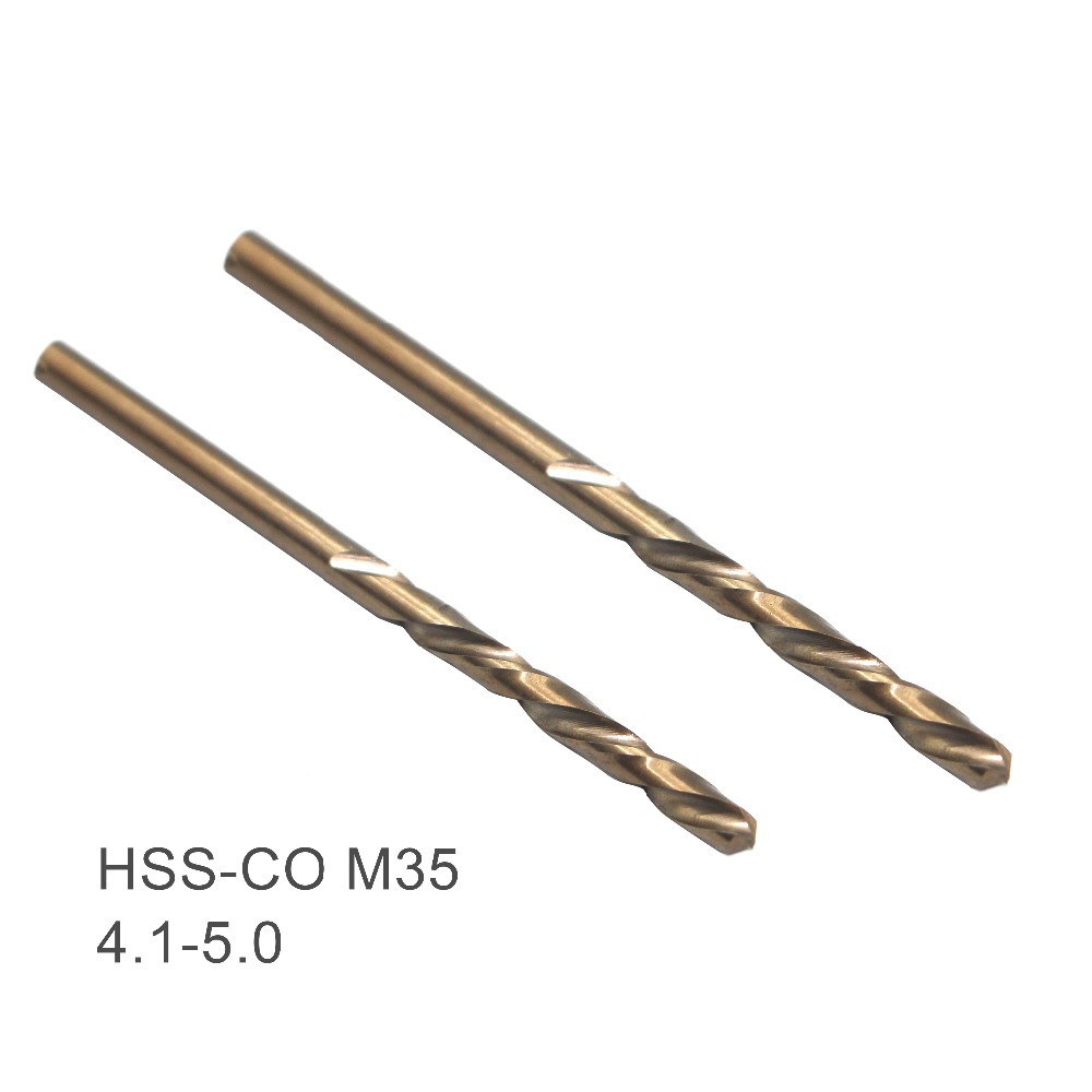 2PCS Twist Drill Bits 4.1 4.2 4.3 4.4 4.5 4.6 4.7 4.8 4.9 5mm HSS-CO M35 Cobalt Steel Straight Shank For Stainless Steel