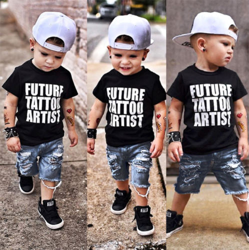 Summer Toddler Kids Baby Boy Tops T-Shirt Denim Ripped Pants Jeans Clothes 2Pcs
