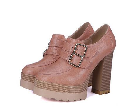 New Spring Autumn Women Pumps Thick High Heeled Shoes Round Toe Buckle Female Platform Shoes Casual Wooden Party Shoes BAOK-91cb