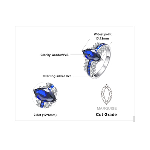 Image 5 - JewelryPalace Luxury Created Blue Sapphire Ring 925 Sterling Silver Rings for Women Engagement Ring Silver 925 Gemstones Jewelry