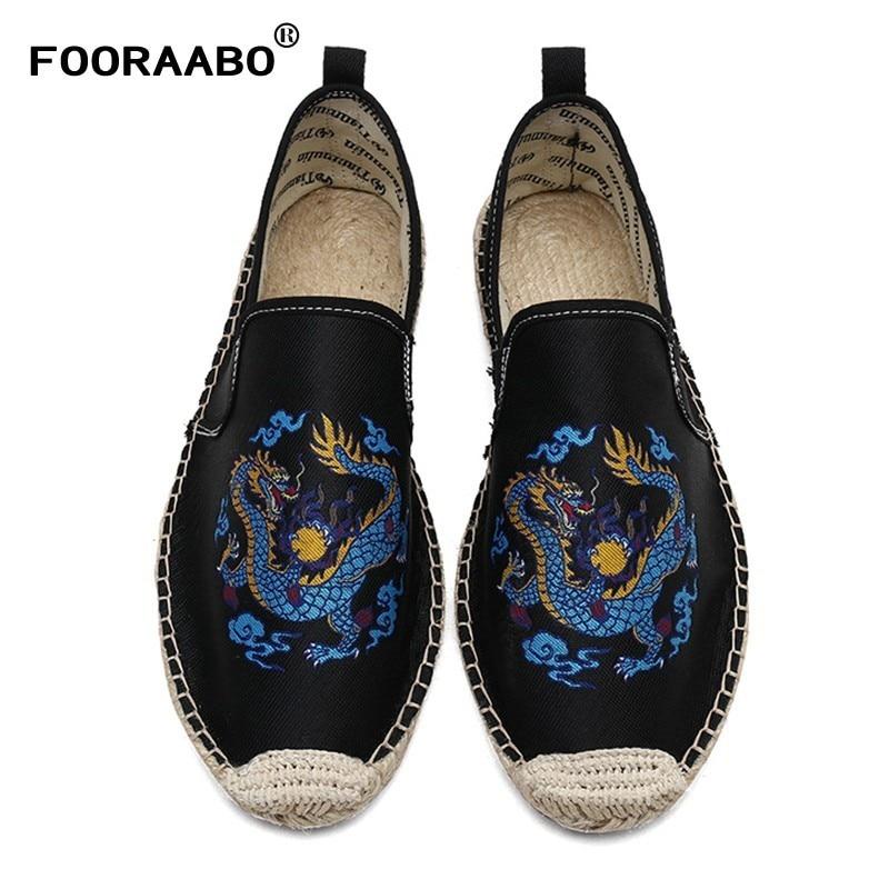 FOORAABO Neue 2018 Chinesische Elemente Drachen Totem männer Leinwand Wohnungen Schuhe Sommer Atmungsaktiv Männlichen Müßiggänger Schuhe Fahren Schuhe