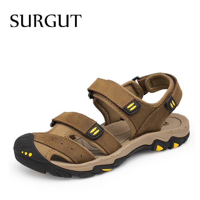 SURGUT New Fashion Summer Beach Breathable Men Sandals Brand Genuine Leather Mens Sandals Man Casual Shoes Plus Size 38 47