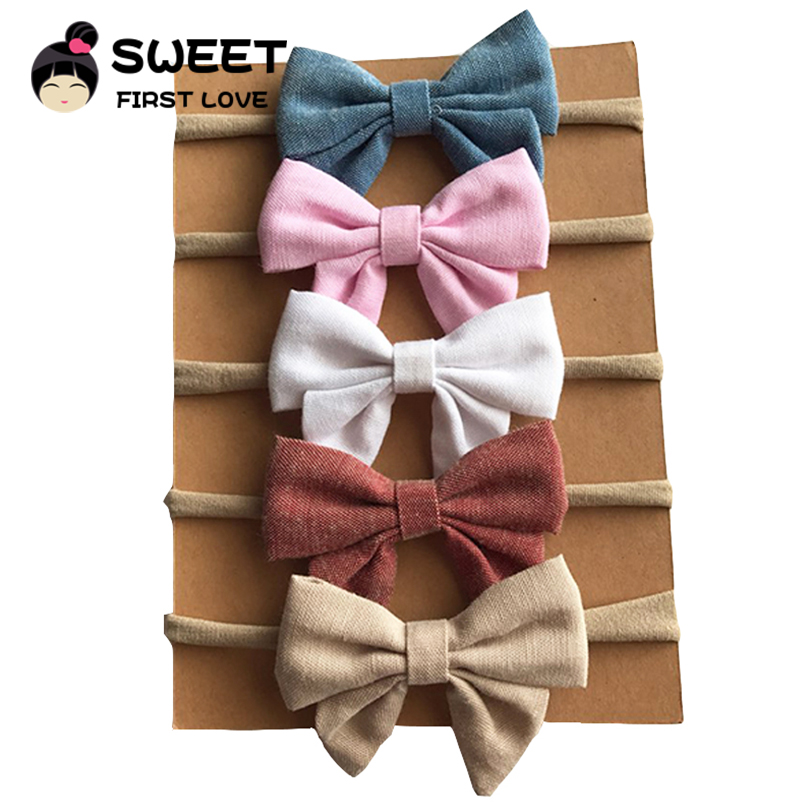 5pcs/lot Newborn kids Bow Nylon Headbands Soft Linen Fabric Bowknot Elastic Headband Girls Hair Accessories Cute Hair   Headwear