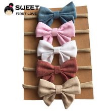 5pcs/lot Handmade Newborn kids Bow Nylon Headbands Soft Headwear Elastic Head band
