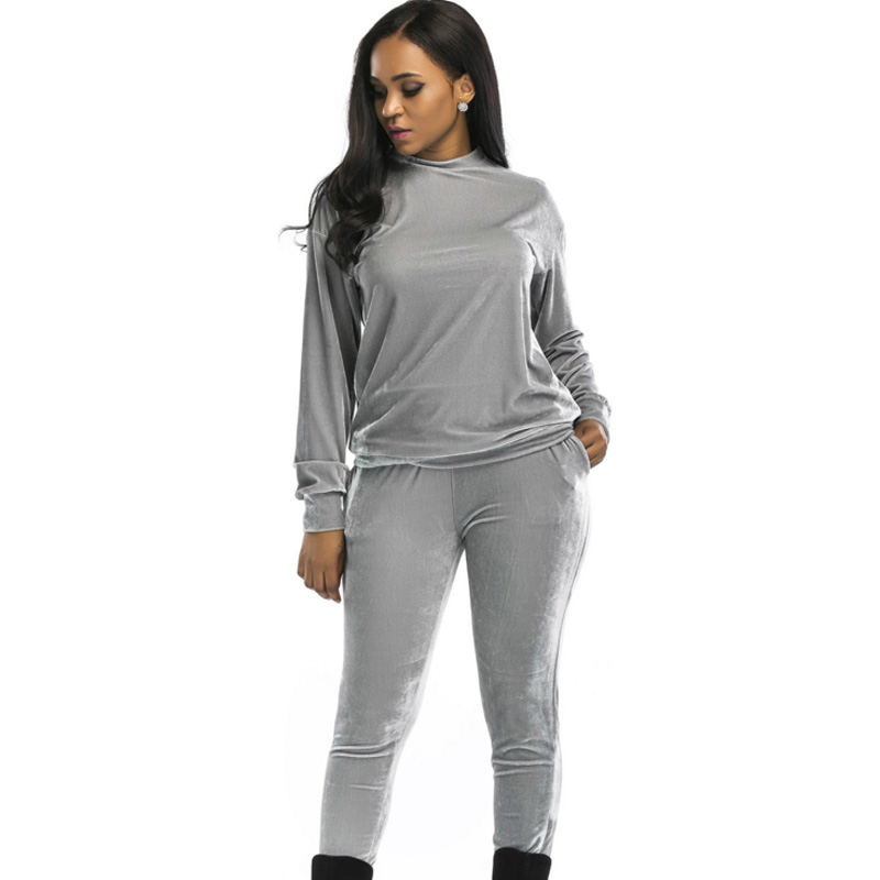 17e707fa223 2018 two piece thick Velvet women sets plus size loose Long Sleeve Top and Pants  tracksuit Runway Fashion high quality Jumpsuits-in Women s Sets from ...
