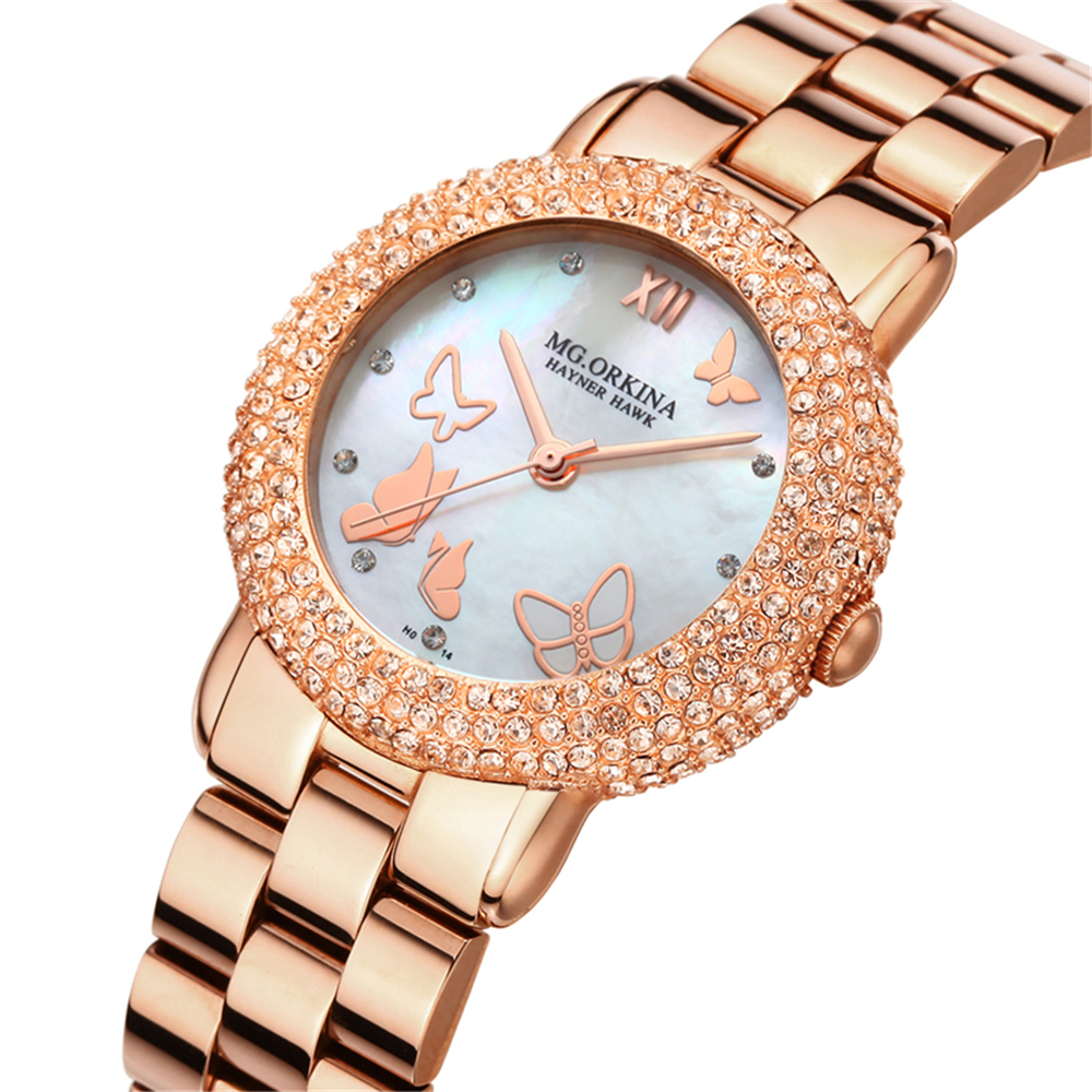 ORKINA New Women Rhinestone Watches Lady Dress Women watch Diamond Luxury brand Bracelet Wristwatch ladies Crystal Quartz Clocks