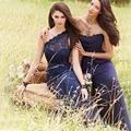Venda quente Da Forma Especial Azul Marinho Chiffon Uma Linha Vestido Da Dama de honra Vestido de Festa de Casamento Barato FQ35 Demoiselle D'honneur