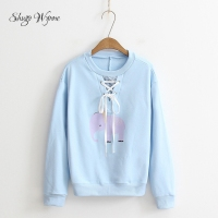 Shugo Wynne 2017 Autumn New Women Sweet O Neck Long Sleeve Pullover Cute Elephant Print Casual