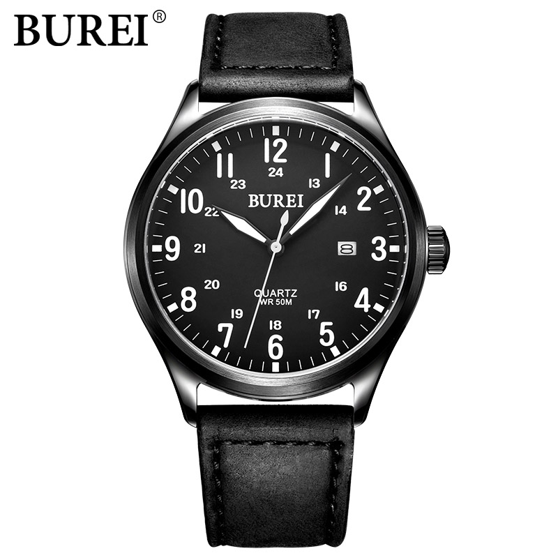 BUREI Famous Brand watch Fashion men Casual Quartz Wristwatches male Sports watches leather Luminous clock hours montre homme new listing men watch luxury brand watches quartz clock fashion leather belts watch cheap sports wristwatch relogio male gift