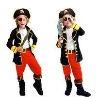 Fontes Do Partido de Halloween Do Pirata Capitão Chapéu Botas Cosplay Roupas Traje 6 pcs Um Conjunto de Dia das Crianças Cosplay Frete Grátis