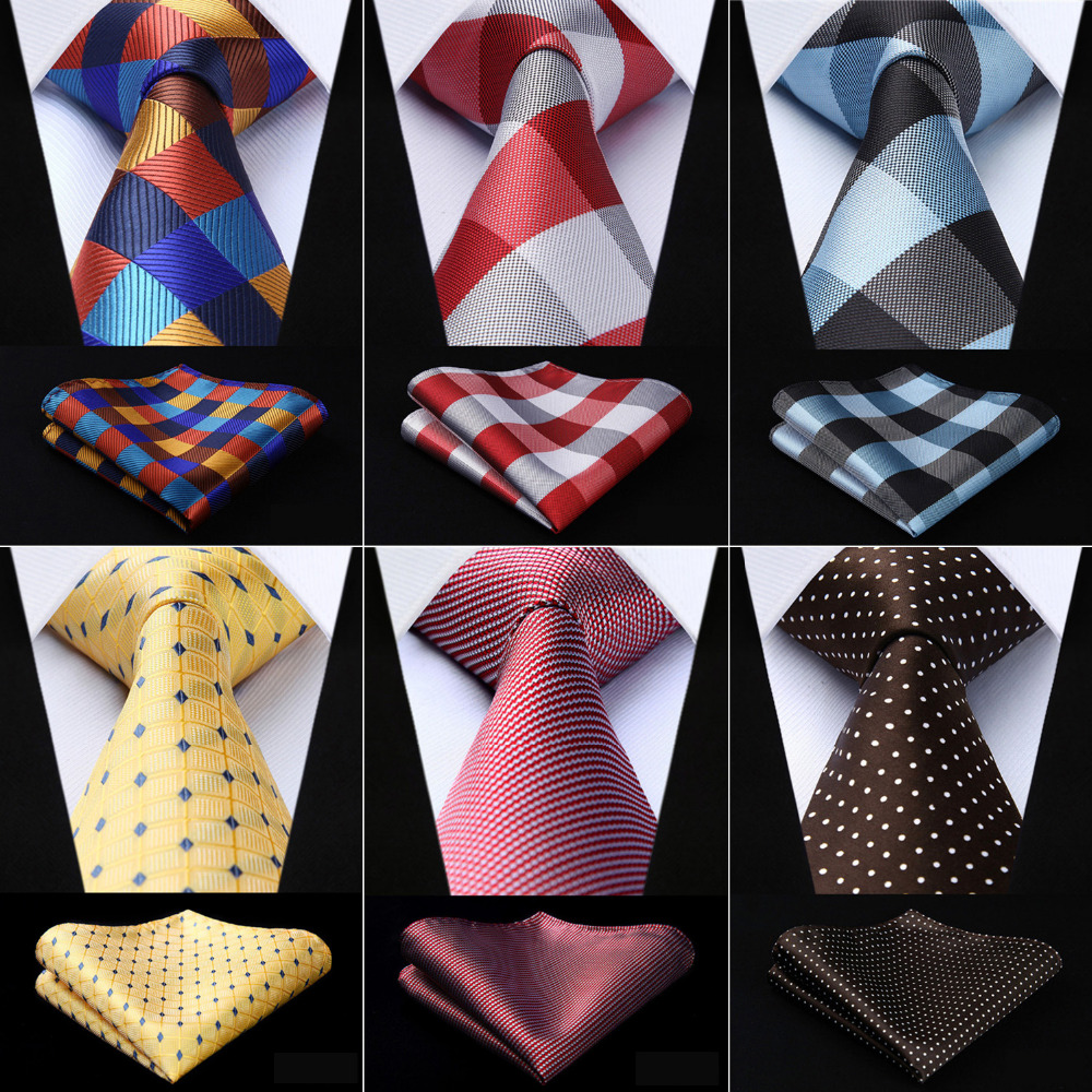 Men Fashion Tie Woven Classic Necktie Pocket Square Plaid Polka Dot Check 3.4