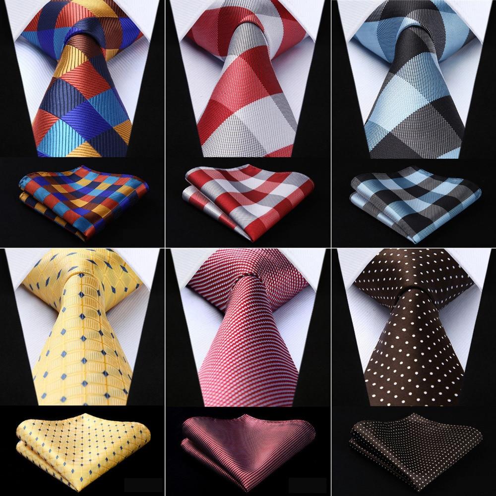 Men Fashion Tie Woven Classic Necktie Pocket Square Plaid Polka Dot Check 3.4