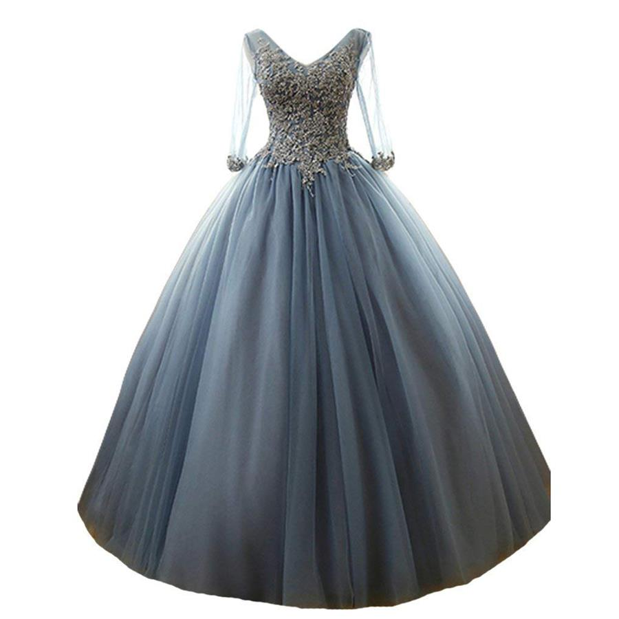 LISM 2018 Appliques 3/4 Sheer Sleeves Prom Gowns Tulle Ball Gown Formal Dress V Neck Long Quinceanera Dress vestidos de 15 anos