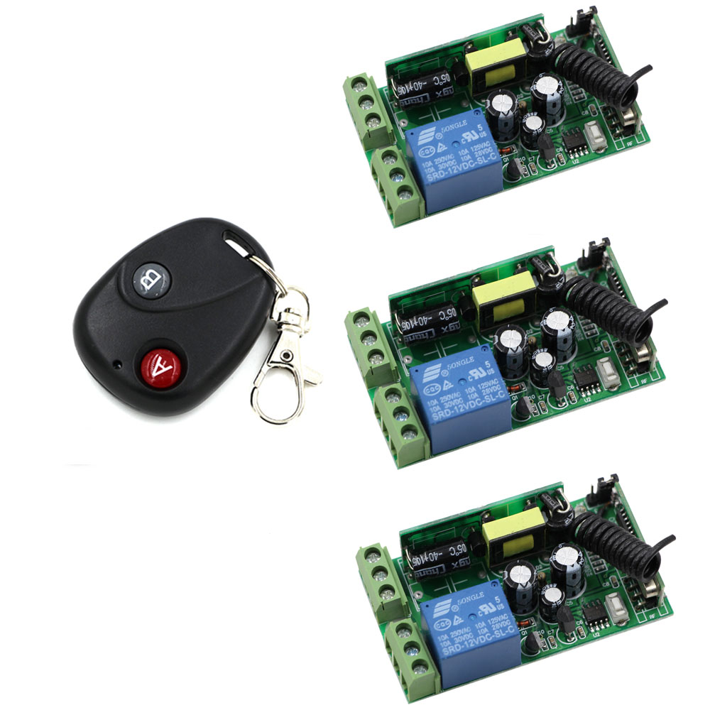 AC 85V-250V Wireless Remote Control Switch Remote Power Switch 1CH Relay For Light Lamp LED Bulb ; 3 X Receiver + Transmitter 220v ac 10a relay receiver transmitter light lamp led remote control switch power wireless on off key switch lock unlock 315433