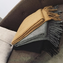 цены Solid color fringed student wild Imitation cashmere scarf thick men women winter long shawl black/gray/khaki