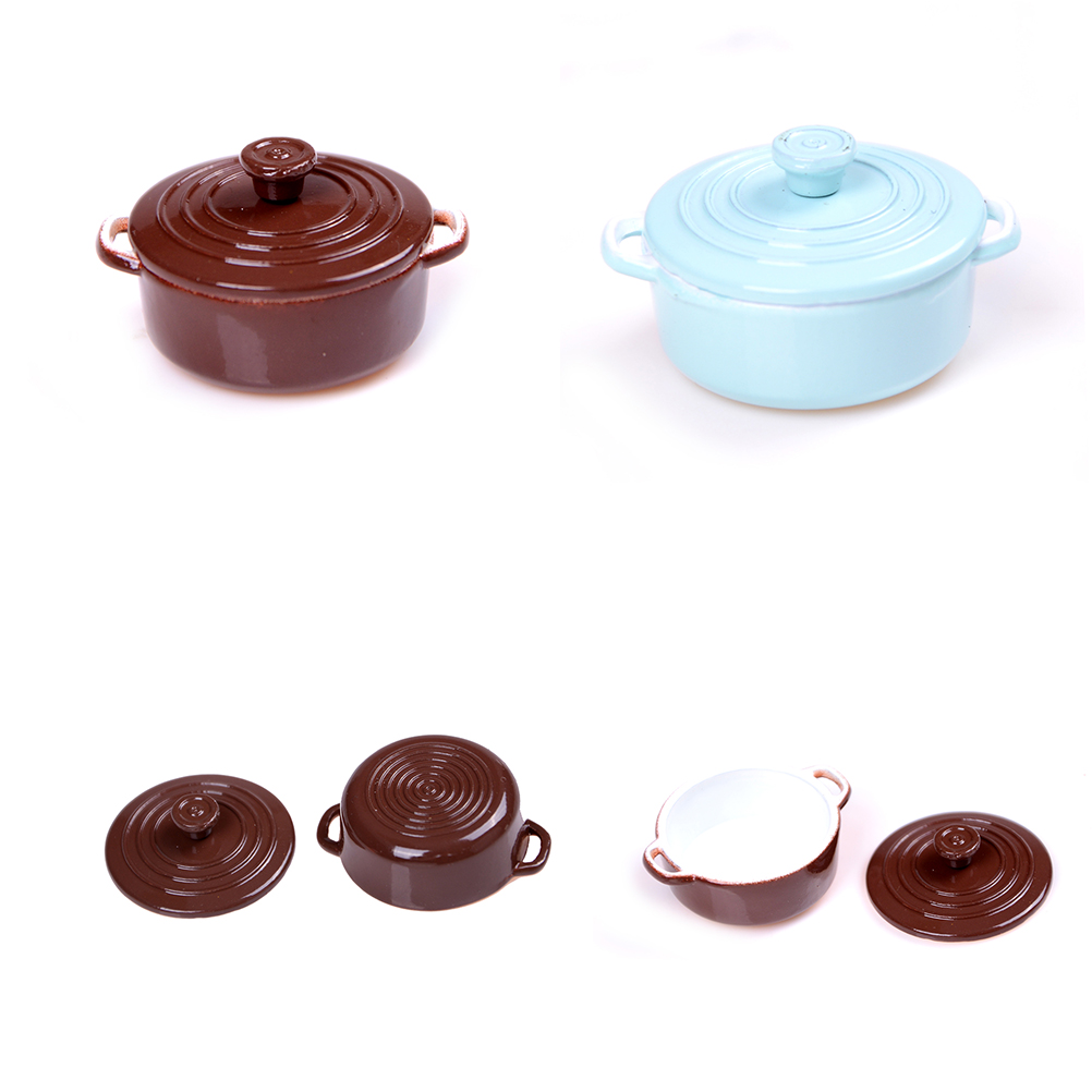 1:12Scale Dollhouse Miniature Kitchen Utensils Cooking Ware Mini Pot Boiler Pan With Lid Doll House Accessories Play Kitchen Toy