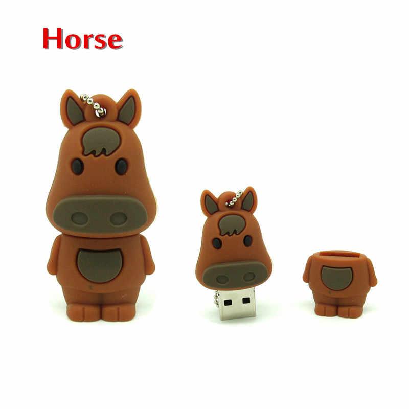 Мультфильм 11 стилей животное usb флэш-накопитель кролик/лошадь/Обезьяна ручка привода карты памяти usb ключ вечерние подарок 128 mb 4G 8G 16G 32G 64G