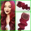 """Cierre de cordones malasio venta caliente 99J onda del cuerpo 100% del pelo humano malasio parte libre de cierre de color Rojo 4 """"* 4"""""""