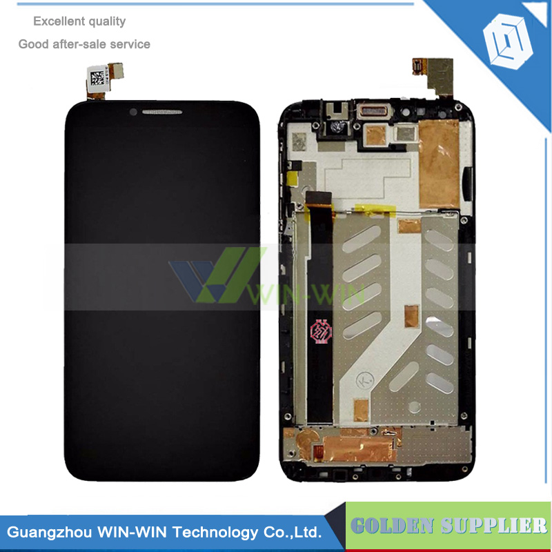 5pcs/lot LCD Display+Touch Screen Digitizer For Alcatel One Touch Idol 2 OT6037 6037 with Frame+Free shipping and tracking No. lcd screen display touch panel digitizer with frame for htc one m9 black or silver or gold free shipping