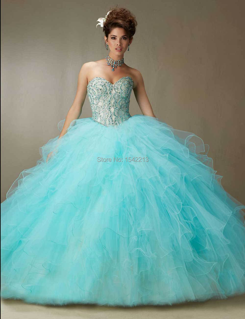 Coral Blue Sweet 16 Dresses