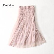 Pantalon női szoknya hosszú tüll szoknya Pink Boho Harajuku Mesh Saia Mid-borjú koreai stílusban hosszú szoknya nyári női ruházat