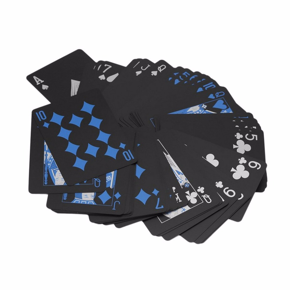 Waterproof PVC Plastic Playing Cards Trend Deck Poker Classic Magic Tricks Tool Pure Color Black Magic Box-packed Hot Sale