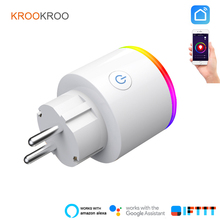 KROOKROO EU LED Smart Plug Wifi Smart Monitor Socket Power Energy Monitoring Timer With Google Home Mini Alexa IFTTT
